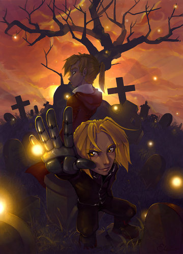 "Full Metal Alchemist achtergrond titled ""The Elric Brothers"""