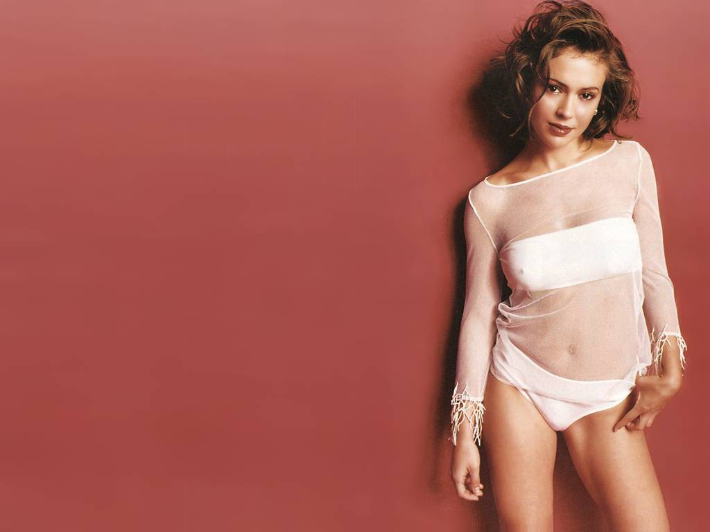 alyssa milano in underwear