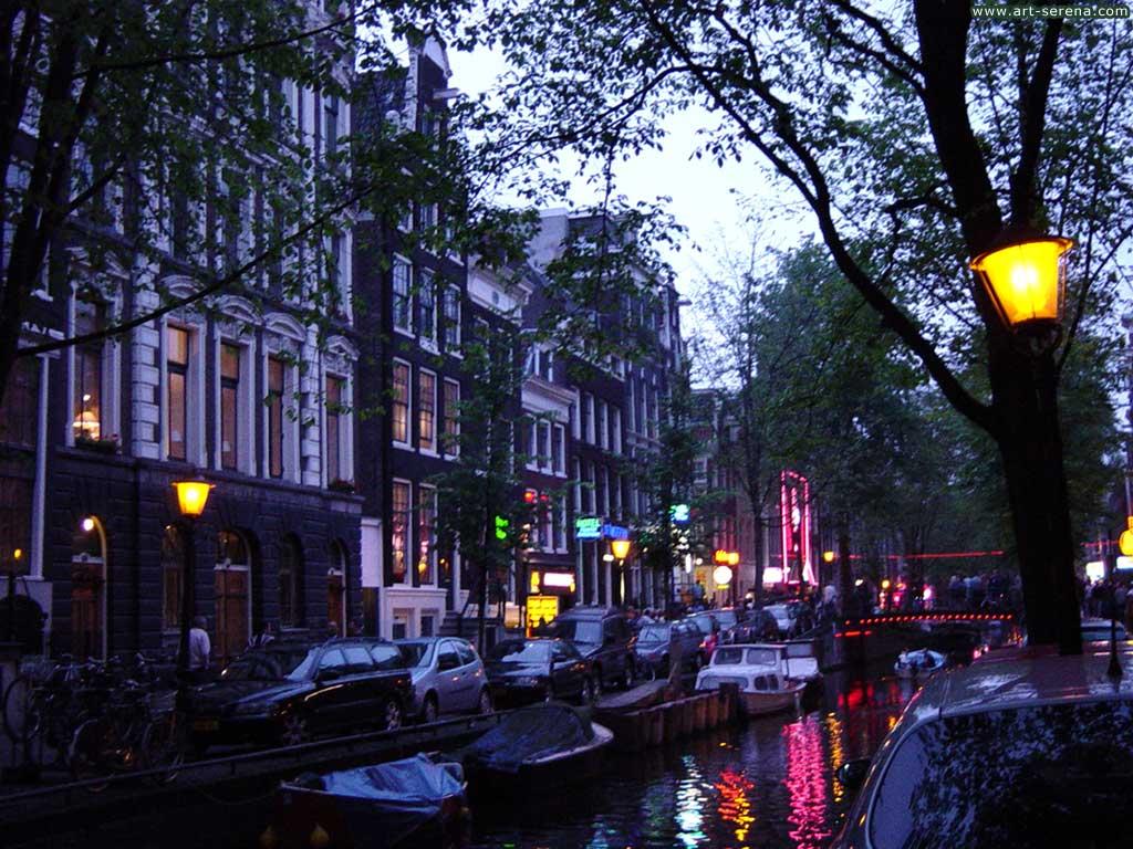 Обои  Amsterdam деревья канал Амстердам город