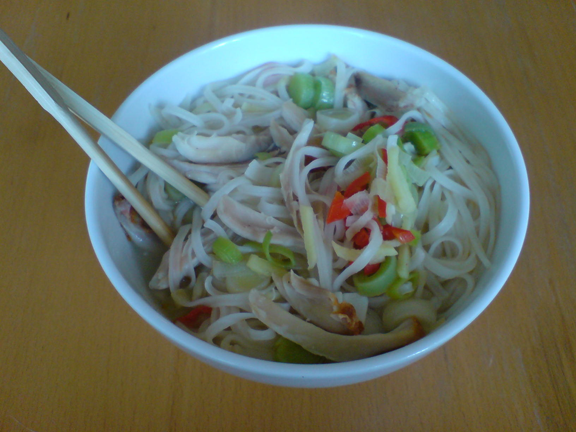 Asian chicken noodle soep