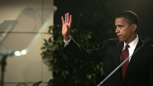 Obama Giving a Speech (WS)
