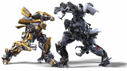 Transformers fond d'écran titled Bumblebee versus Barricade