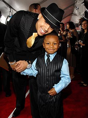 Chris Brown with his nephew