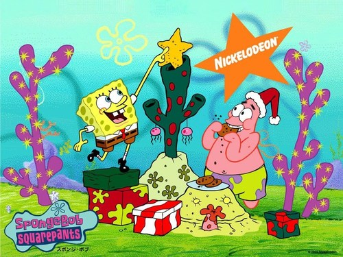 Spongebob Squarepants kertas dinding called Krismas SpongeBob