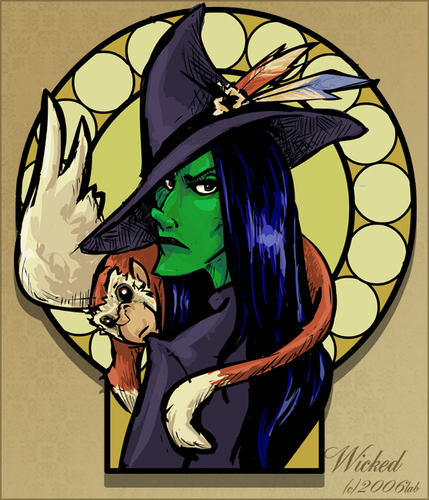 Wicked Elphaba and Glinda - DIGITAL STAMP Instant Download ... |Elphaba Clipart