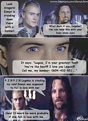 Eowyn is Legolas' Fangirl