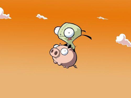 gir on his Piggy!