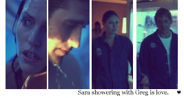 Greg showering w/ Sara is cinta