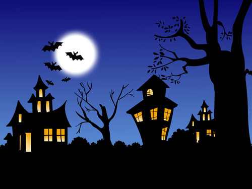 Halloween kertas dinding called Haunted House