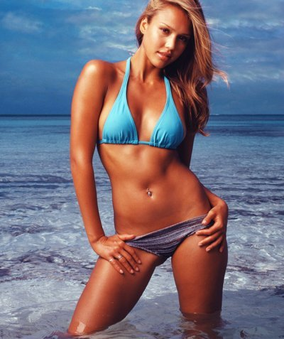 Jessica Alba wolpeyper titled Into the Blue Bikini