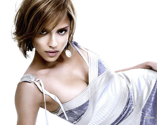 Jessica in White - jessica-alba Wallpaper