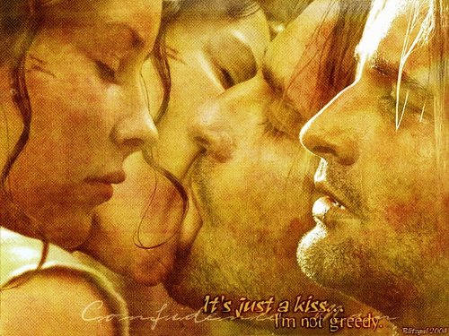 Famous Kisses wallpaper entitled Kate and Sawyer wallpaper