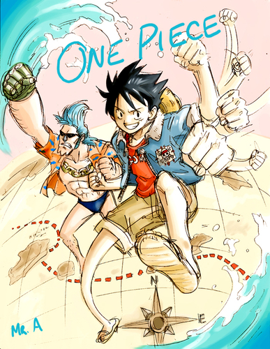 Luffy and Franky - one-piece Fan Art