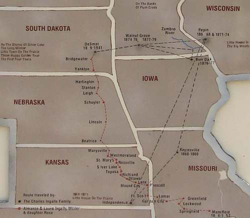 Map of the Ingalls' Travels