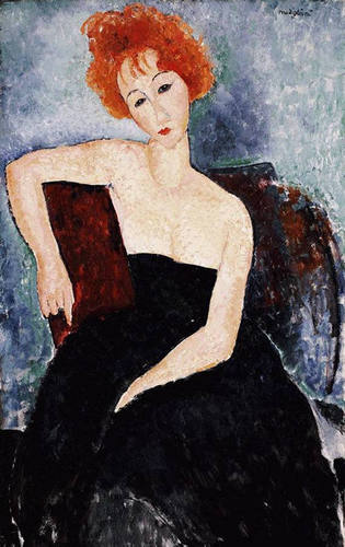 Fine Art Hintergrund called Modigliani. Red head