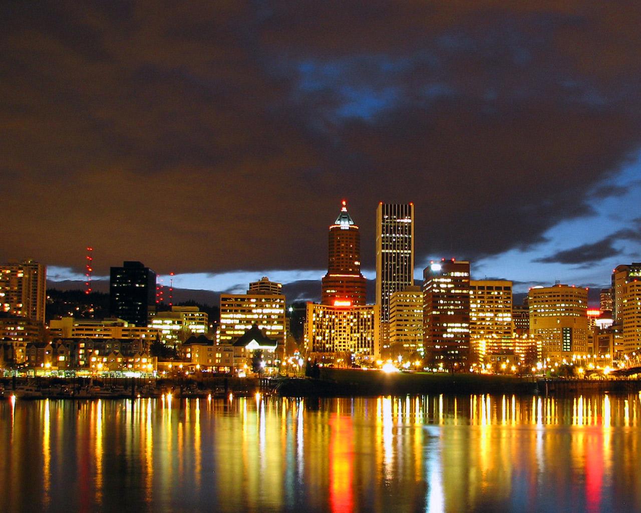 Portland Images Portland Cityscape At Night Hd Wallpaper