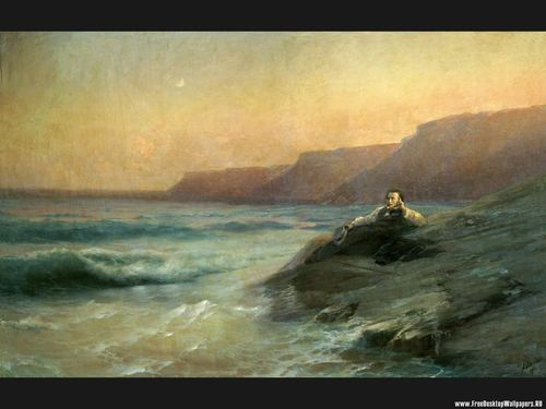 Fine Art Hintergrund entitled Pushkin at Sea Coast