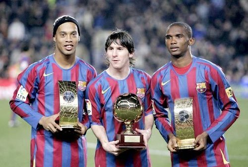 ФК Барселона Обои titled Ronaldinho, Messi and eto'o