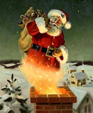 Santa Going Down Chimney