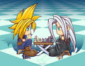 Sephiroth and wolk Chibi