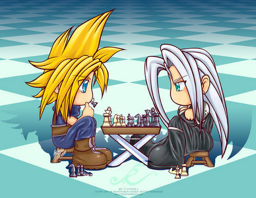 Final pantasiya VII wolpeyper titled Sephiroth and ulap Chibi