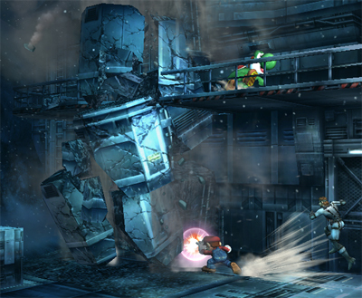 Super Smash Bros. Brawl karatasi la kupamba ukuta called Shadow Moses Island
