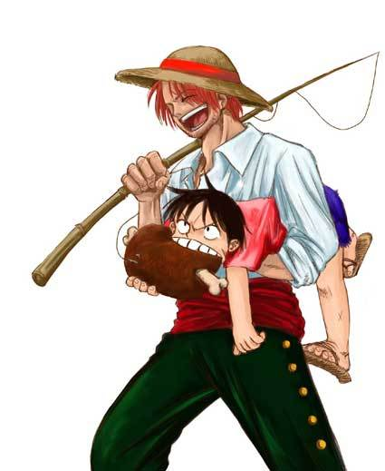 Shanks and Luffy with meat