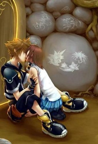Sora and Kairi kissing