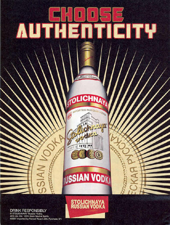 Stolichnaya vodka print ads