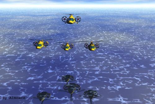 Taxi Fleet Over Water