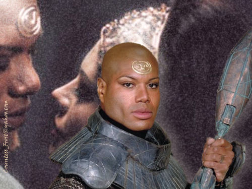 Stargate karatasi la kupamba ukuta called Teal'c & Sho'nac 2
