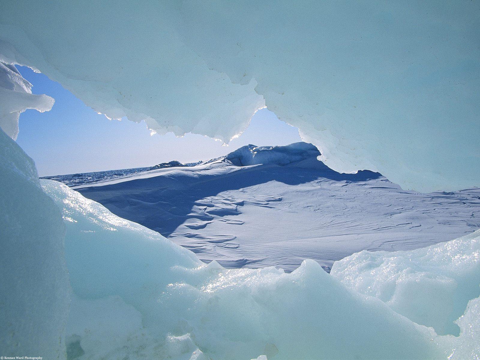 Canada view through arctic ice, nwt
