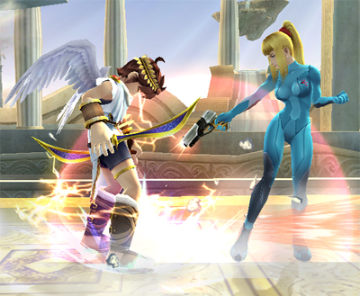 Super Smash Bros. Brawl karatasi la kupamba ukuta called Zero Suit Samus' special moves