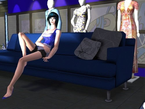 blue couch - the-sims-2 Fan Art
