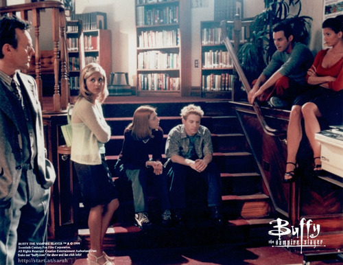 btvs-scobbie gang in library