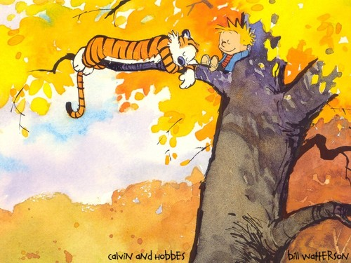 Calvin & Hobbes wallpaper entitled in tree