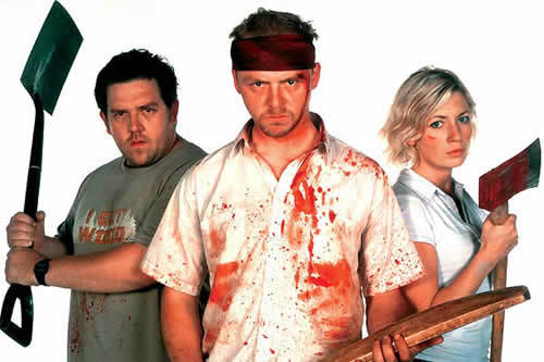 Shaun of the Dead wallpaper titled Shaun, Ed, Liz and blood