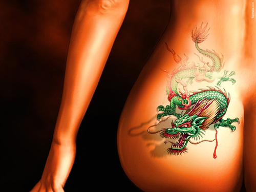 Girl sexy 3D Dragon Tattoos Design
