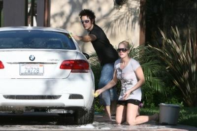 washing her car!