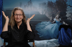 Leibovitz poses with the Harry Wintson tiara worn by Scarlett Johansson for her photo shoot as Cinderella