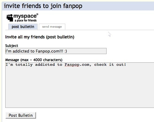 Post a bulletin to your MySpace page!