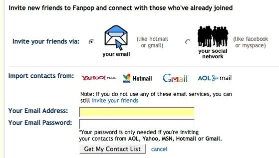 Find out if friends in your contact list are already on Fanpop or invite them to join!