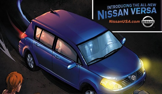 Nissan plastered all over the online web comic.