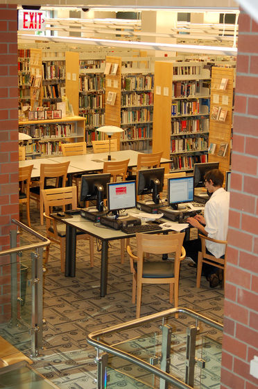 Patron using one of the library's 100+ computers.
