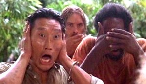 Jin and Sawyer found out it was Michael's eye...Poor Michael, he's even sheilding his eyes...or is it just eye!