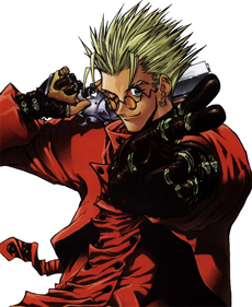 "Vash the Stampede: (ヴァッシュ・ザ・スタンピード Basshu za Sutanpīdo) is the main character of Trigun, also known as The Humanoid Typhoon. He is the first person to be declared ""an act of God"" или ""a human disaster."" He is initially discover"