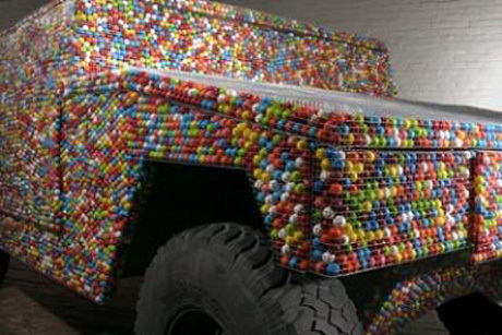 Hummer made out of gumballs!