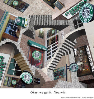 escher's turned starbucks