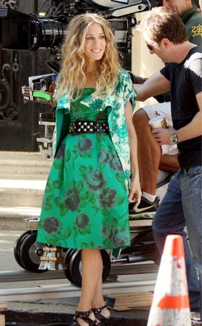 sjp on satc movie set